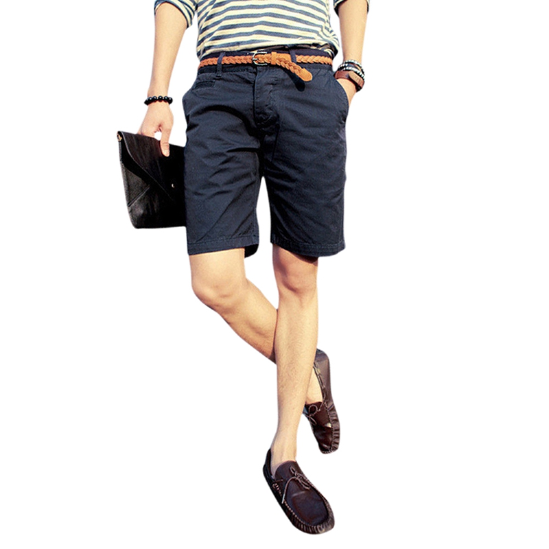 England Style Casual Shorts Men Cool Summer Knee Length Solid Slim Fashion Short Pants Nary Blue 29