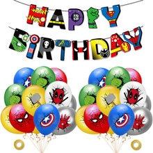 Super herói balão banner conjunto spiderman festa de aniversário balões crianças festa de aniversário decoração do chuveiro do bebê balões