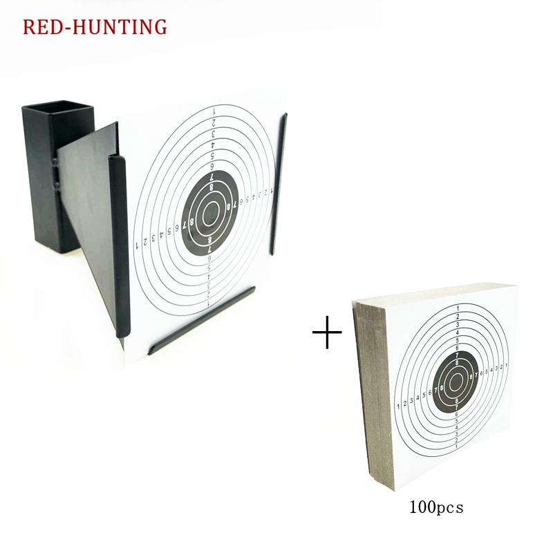 High Quality 14cm Funnel Shooting Target Holder Pellet Trap + 100 Paper For Air Rifle/Airsoft Shooting