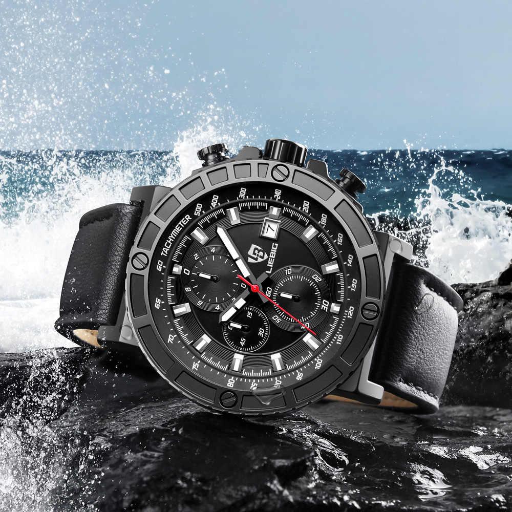 Moda 30 m à prova dwaterproof água dos homens esportes relógios pulseira de couro cronômetro masculino quartzo relógio de pulso relogio masculino zhg161015