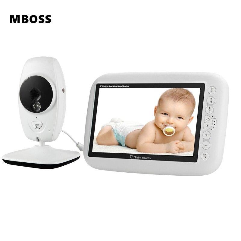 7 pouces sans fil bébé moniteur 720P HD écran caméra Vision nocturne interphone berceuse nounou bébé moniteur vidéo prend en charge le commutateur d'écran
