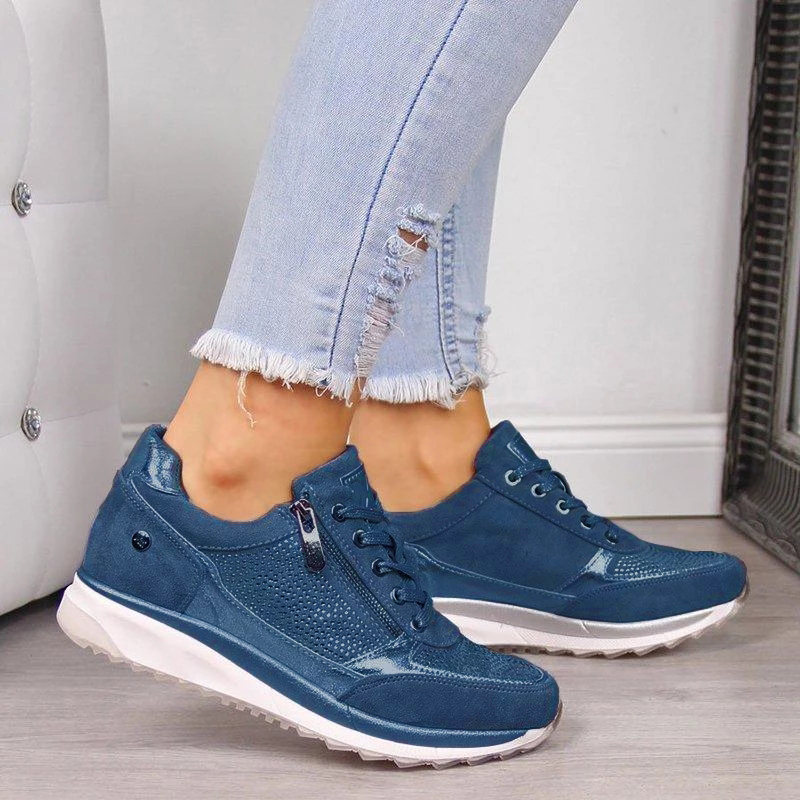Women Casual Shoes 2020 New Fashion Wedge  Flat Shoes Zipper Lace Up Comfortable Ladies Sneakers Female Vulcanized Shoes