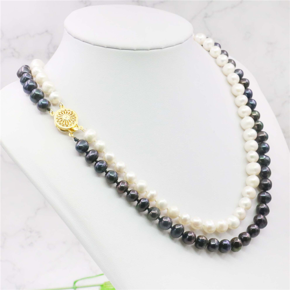 Charming 7-8mm white Akoya Cultured Pearl Necklace AAA+