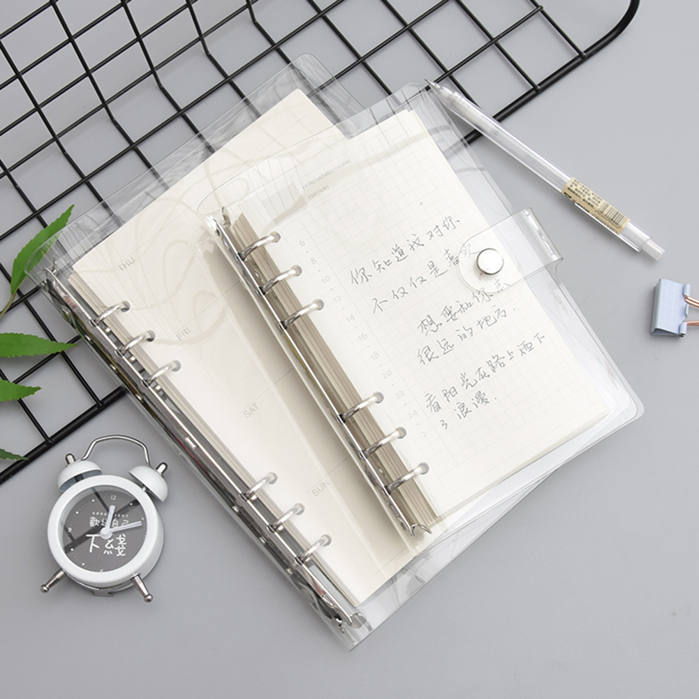A5/A6 Notebook Transparent Color PVC Clip File Folder Loose Leaf Ring Binder Planner Agenda School Office Supplies Stationery