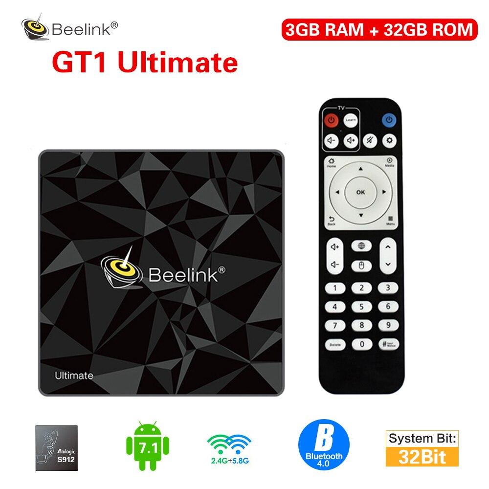 Beelink GT1 ultime Android 7.1 Smart TV Box Amlogic S912 Octa Core 3G + 32G BT4.0 4K 2.4G 5.8G Wifi décodeur lecteur multimédia