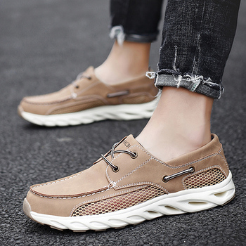 Men Shoes fashion Genuine Leather Loafers Breathable Autumn Slip on Flats comfortable Casual Shoes Outdoor Sneakers Boat shoes genuine leather slip on men loafers dress flats shoes big size 46 luxury brand loafers shoes fashion casual men shoes 8820