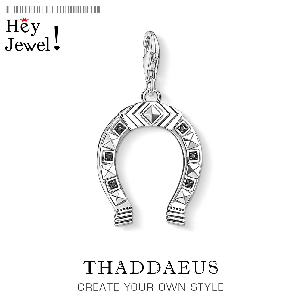 Ethnic Horseshoe Charm Pendants For Women Men Trendy 925 Sterling Silver Vintage Gaucho Attitude Jewelry Fit Bracelet Necklace