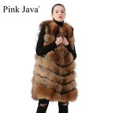 pink java QC19082   New arrival hot sale long model  natural real  raccoon fur vest gilet  women girls high quality