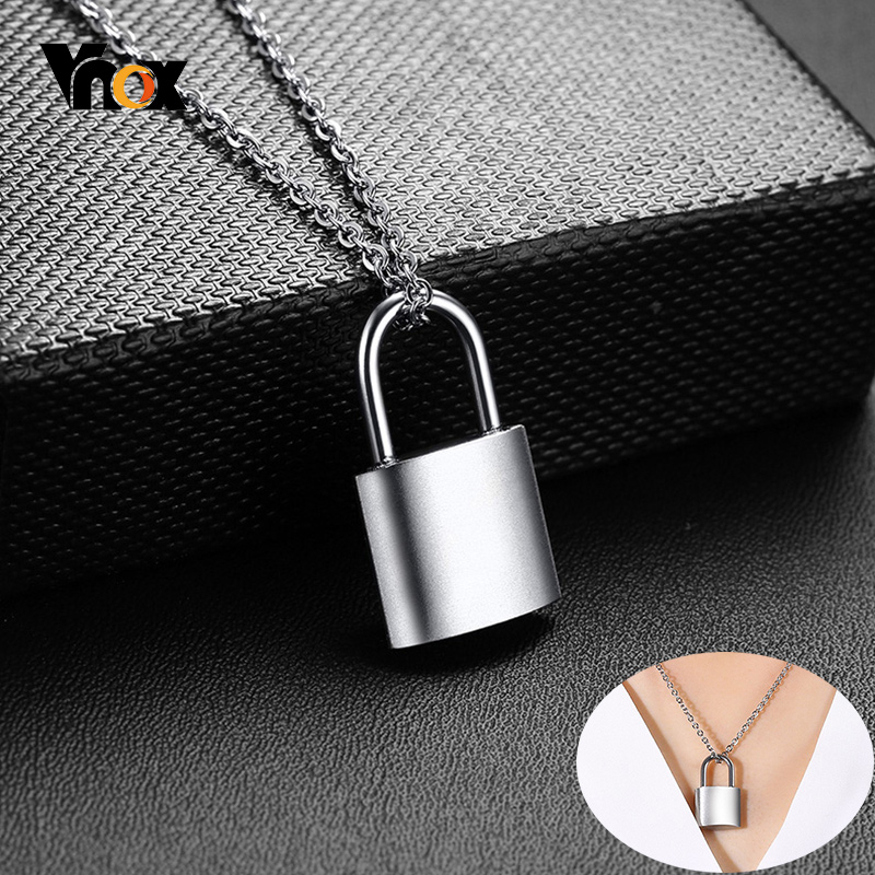 Vnox Rock Punk PadLock Pendant Necklaces for Women Party Jewelry Stainless Steel Metal Female <font><b>BFF</b></font> Gifts image