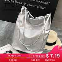 TTOU Fashion Woman Shoulder Bags Soft PU Leather Handbag Silver Black Ladies Casual Shipping Tote Bags Travel Bags Sac a main