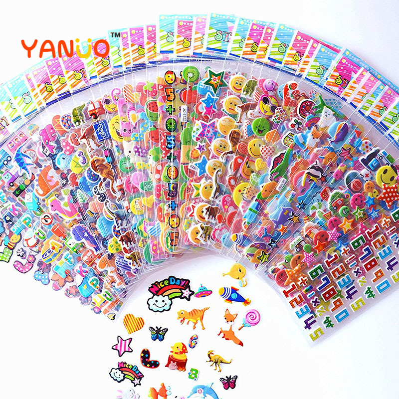 20 feuilles/lot autocollants dessin animé 3D dessin animé princesse aléatoire gonflé autocollants enfants cadeaux d'anniversaire pour garçons filles autocollant bricolage