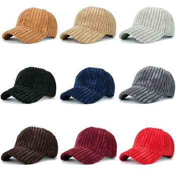Fashion Winter Solid Color Thick Corduroy Baseball Cap Female Winter Plush Thickening Student Warm Cap Couple Baseball Caps 2