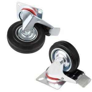 Image 4 - 4 pièces 75mm robuste 200kg pivotant roues de roulette chariot meubles chaise roulette en caoutchouc frein chariot roue ruedas para mueble