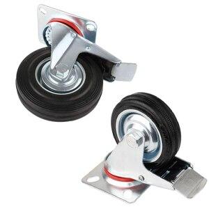 Image 4 - 4pcs 75mm Heavy Duty 200kg Swivel Castor Wheels Trolley Furniture Chair Casters Rubber Brake Trolley Wheel ruedas para mueble