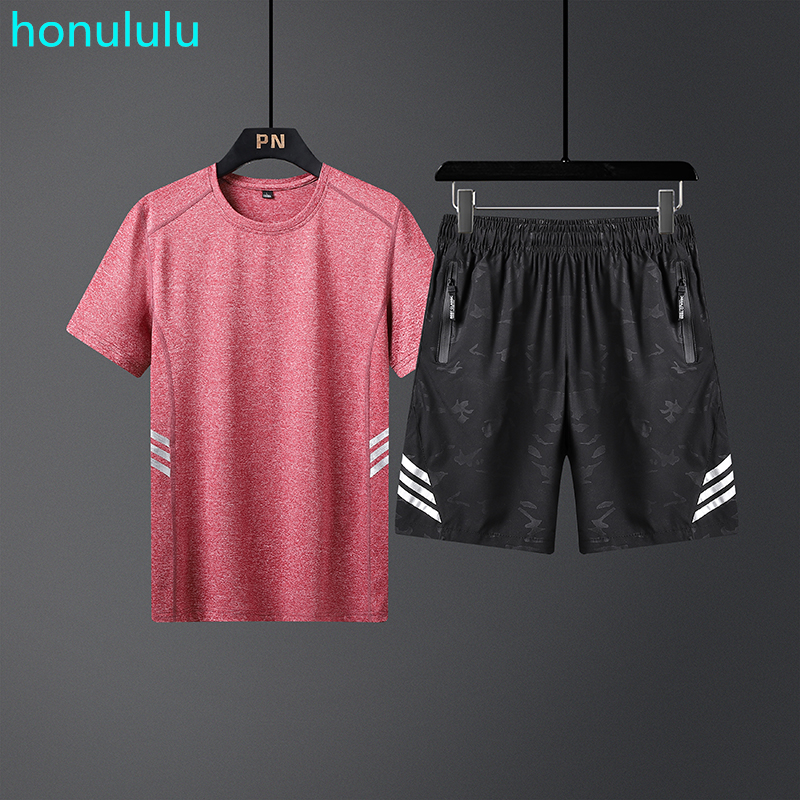 Summer Quick Drying T-shirt Set For Men 2020 New Fashion Brand Fashion Fitness Leisure Running Two-piece Set