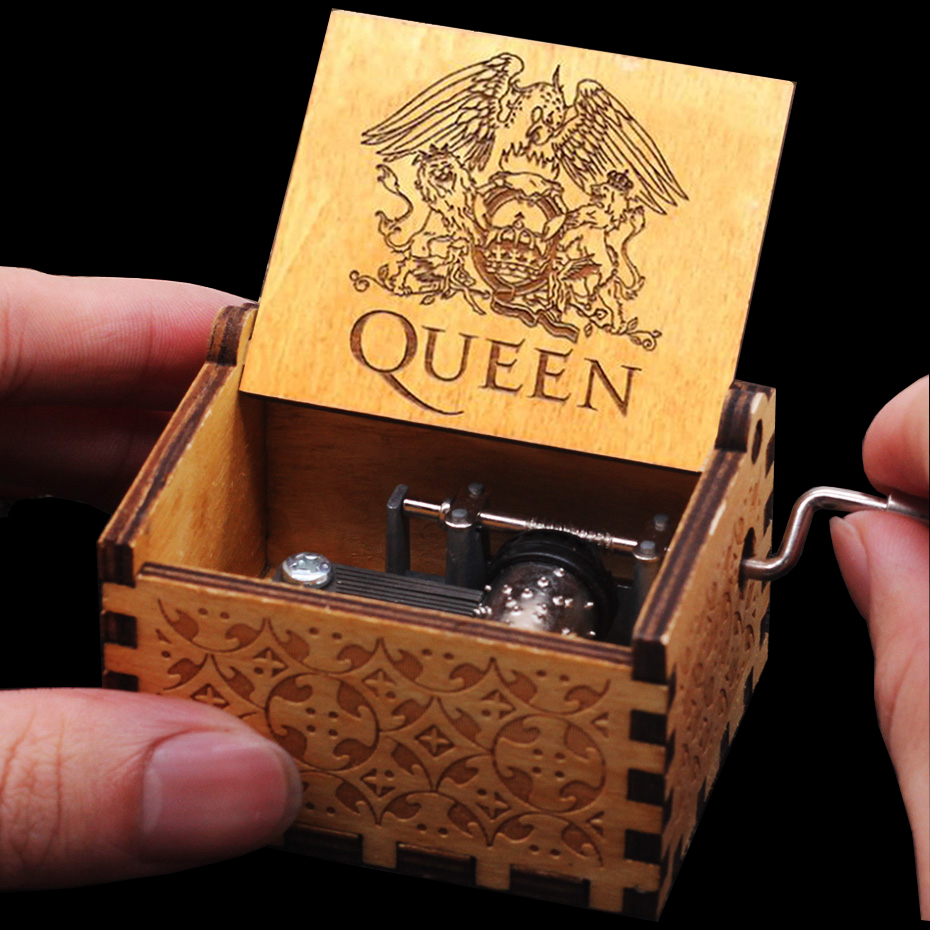 Hot In Stock Queen Hand Cranked Wood Music Box Happy Birthday Star War Game Of Throne Godfather Christmas New Year Gift image