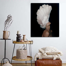 Abstract Feather Woman Wallpaper Picture Wall Poster Modern Style Canvas Print Painting