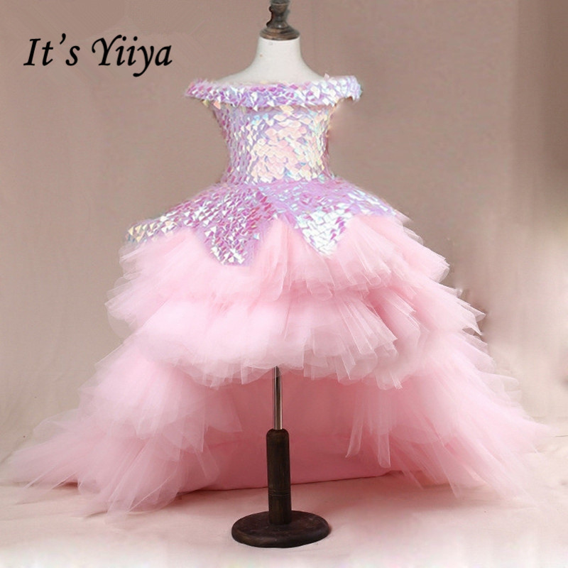 Kids Evening Dress It's Yiiya B018 Sparkle Sequins Pink Princess Gown Tiered Train Flower Girl Dresses For Weddings Elegant