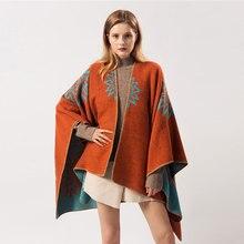Брендовый дизайнерский кашемировый шарф для женщин, новинка, модные женские пончо с прорезями, зимние толстые теплые шали и накидки из пашмины