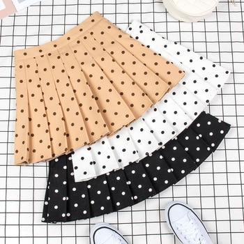 2020 new retro half-length mini skirt summer polka dot pleated skirt short skirt college style pleated skirt women midi skirt box pleated skirt