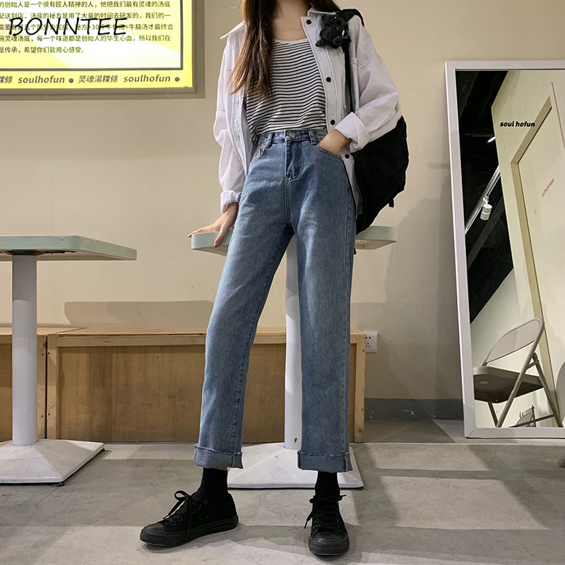 Jeans Women Blue Trendy Elegant Straight High Waist Ladies Daily Korean Style Casual All-match Womens Ankle-length Trousers New