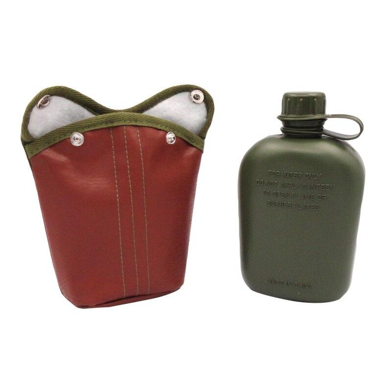 1l esporte ao ar livre militar caça cantina garrafa de plástico acampamento caminhadas sobrevivência garrafa de água chaleira com tampa de couro