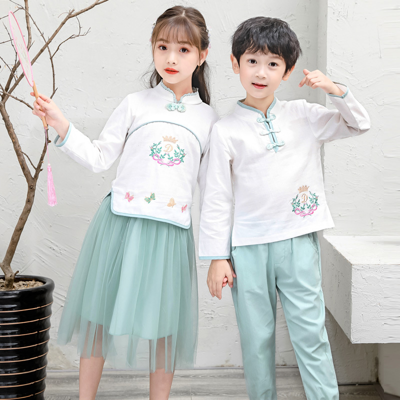 Kindergarten Suit Summer Wear CHILDREN'S Suit Young STUDENT'S Business Attire Chinese-style School Uniform Chinese Costume Chine