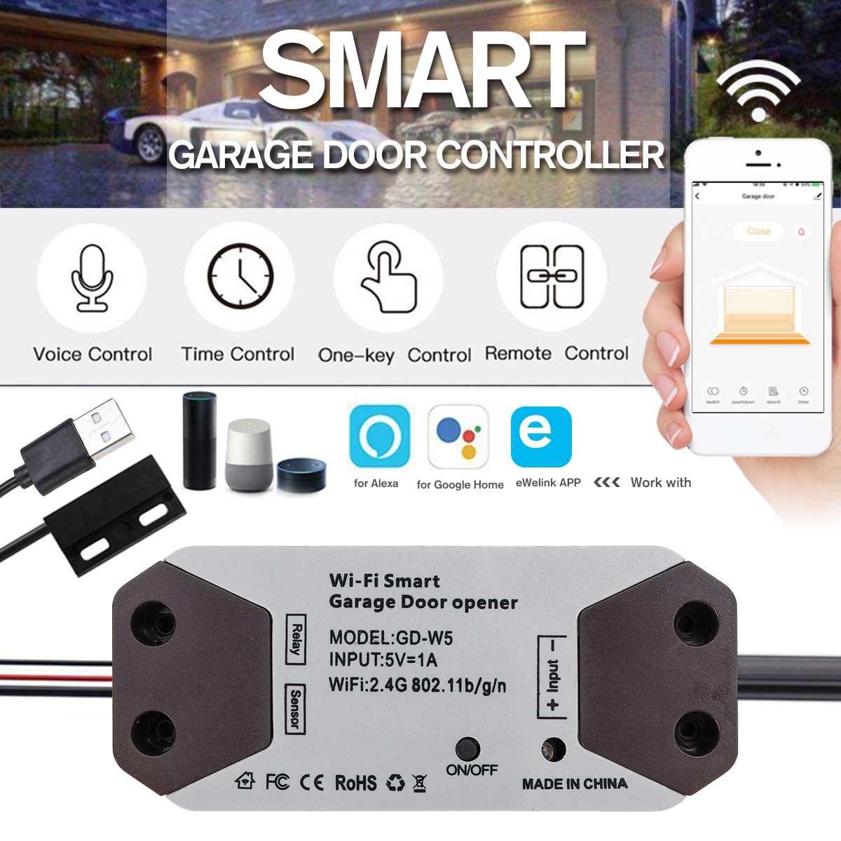 WiFi Switch Smart Garage Door Opener 2.4GHz Smart Life Remote Controller For Alexa For Echo For Google Home APP Control
