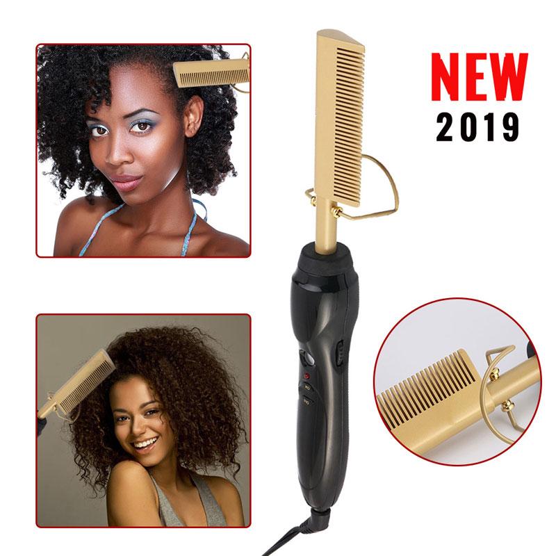 Pente elétrico alisador de cabelo varinha curling ferros cabelo curler pente quente alisamento elétrico pente cuidados com o cabelo liga titânio