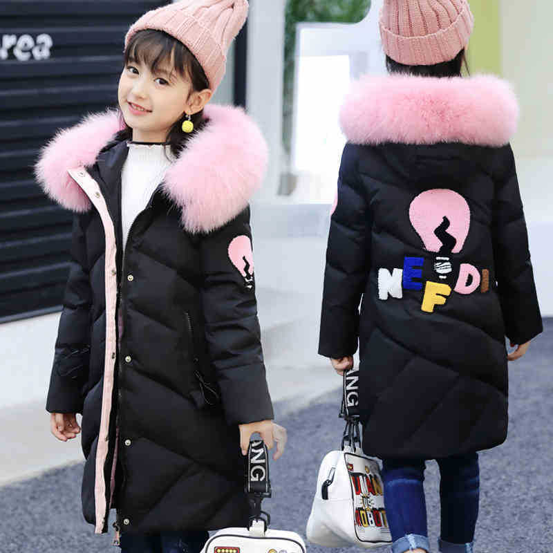 Girls Cotton padded Outerwear    Coats 2019 Autumn Winter Children Warm Clothes Princess Girls Faux Fur Collar Jacket Age 5 13 T-in Down & Parkas from Mother & Kids
