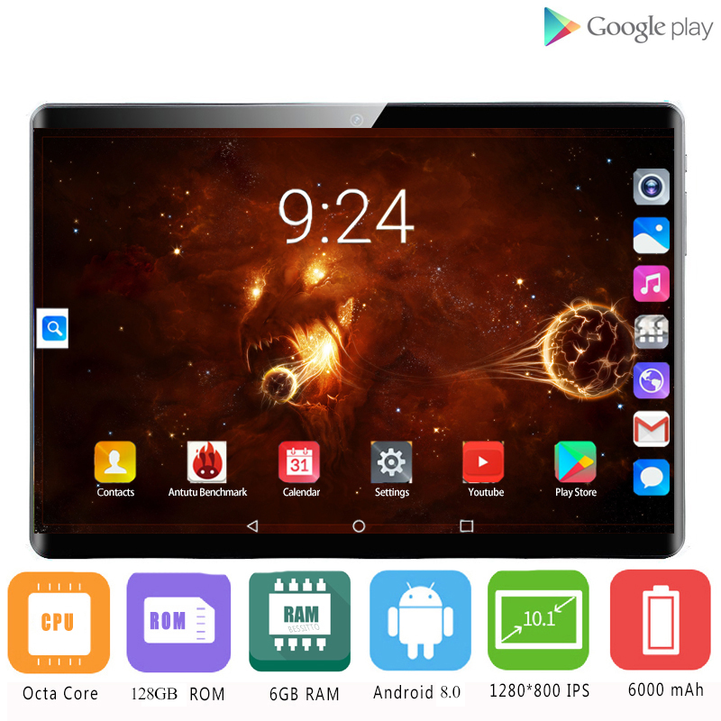 10 Inch Tablet Android 8.0 Octa Core 6GB RAM 128GB ROM 3G 4G FDD LTE Wifi Bluetooth GPS 4G Phone Call Glass Screen Tablet Pc