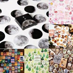 Moon-Plants Stickers Decoration Scrapbooking Diary Vaporwave Kawaii 45pcs/box DIY Paper