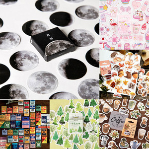 45pcs/box Stationery Stickers Vaporwave DIY Planet Sticky Paper Kawaii Moon Plants Stickers For Decoration Diary Scrapbooking(China)