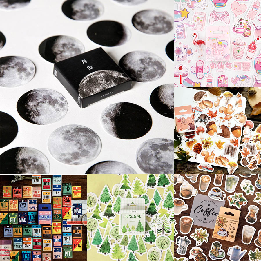 45pcs/box Stationery Stickers Vaporwave DIY Planet Sticky Paper Kawaii Moon Plants Stickers For Decoration Diary Scrapbooking