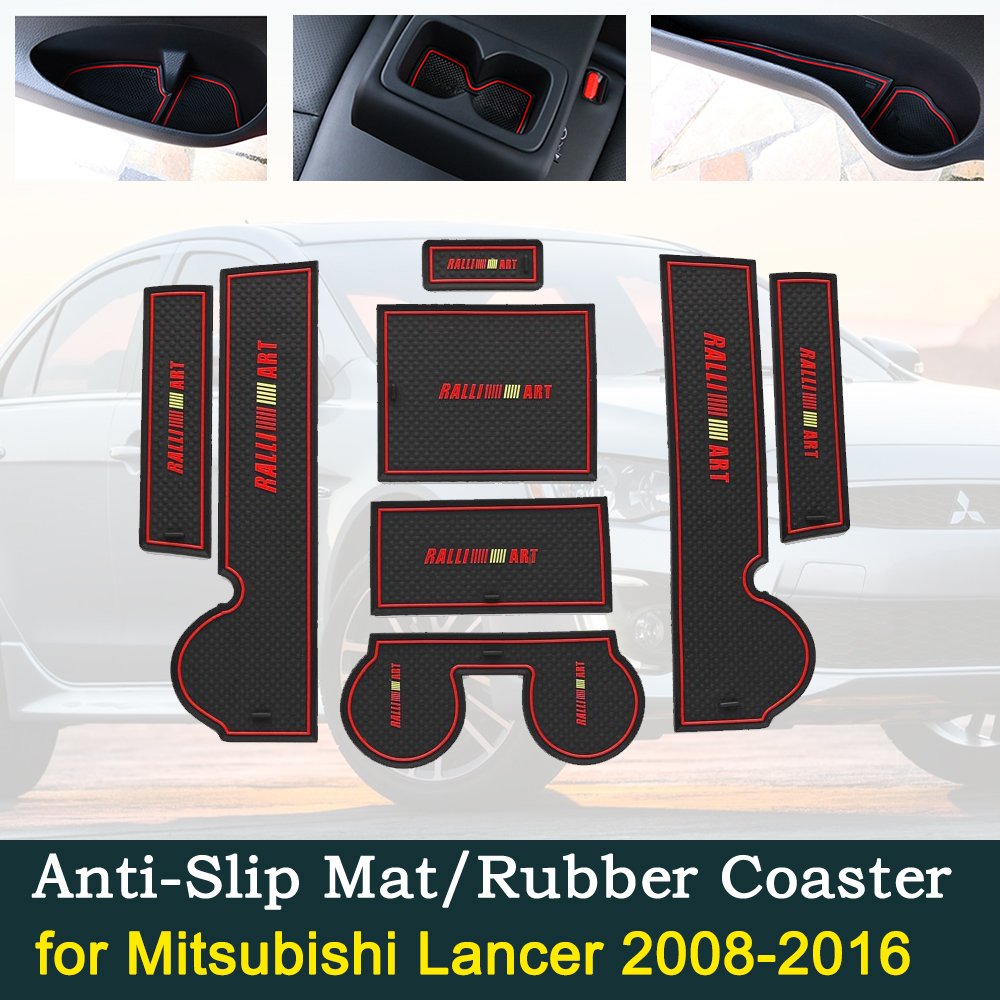 Anti-slip Car Door Rubber Cup Cushion Slots Mat for Mitsubishi Lancer Ralliart EVO X Galant Fortis EX 2008 2016 Pads Accessories
