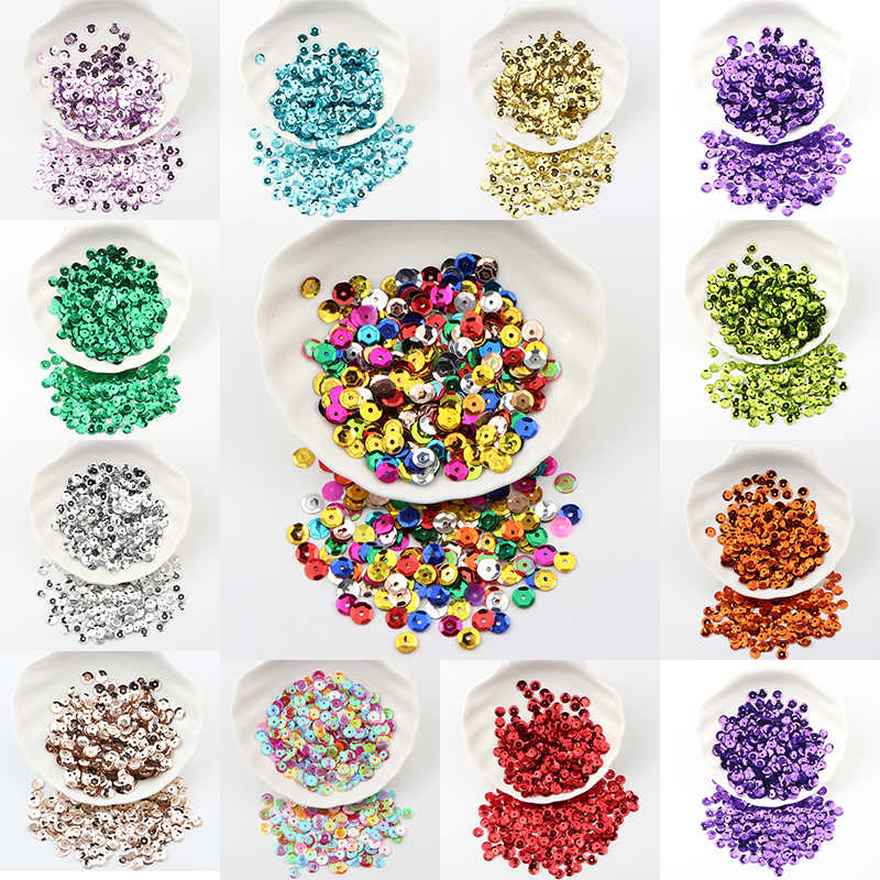 SEQUINS Round Semi Cupped With Hole Multi Colours D:6mm Pack 100g