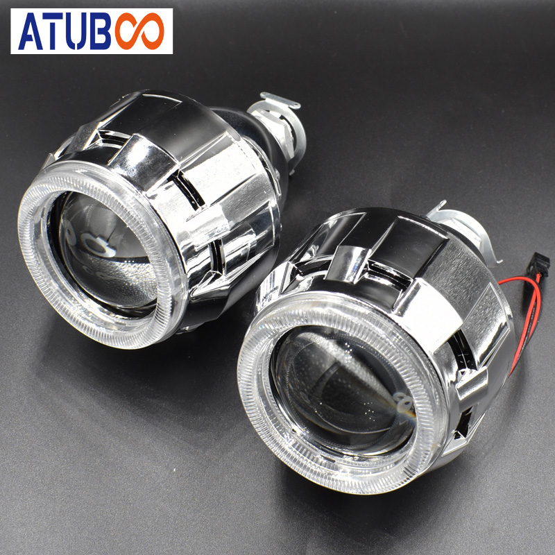 "2.5"" Mini Hid Projector Lens Bi-xenon Projector Headlight With Angel Eye Cover H7 H4 Bulb Socket Car Styling"