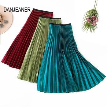 DANJEANER Vintage High Waist Metallic Satin Skirt Women Solid Korean Pleated Long Skirts Casual Elastic Waist Maxi Midi Skirts цена 2017