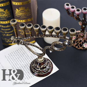 Image 5 - H&D Handmade Hanukkah 9 Branch Hexagonal Star of David Candle Holder Menorah Jewish Lamp Chanukah Candlesticks Party Decoration