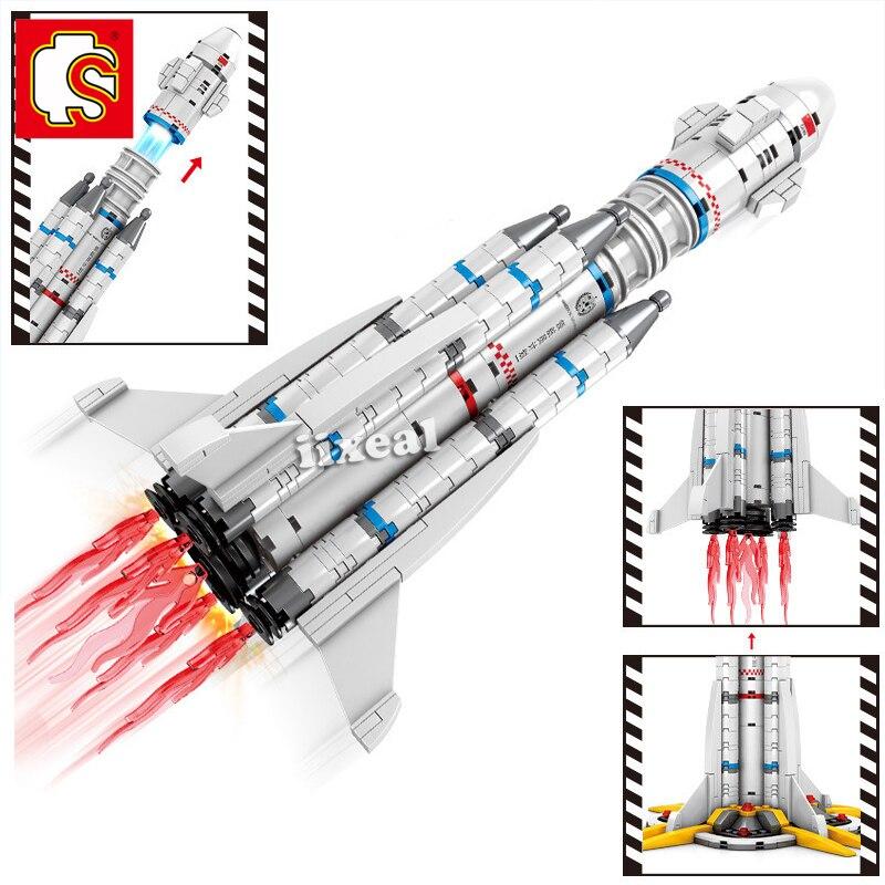 Jouets pour enfants, compatibles avec Lego, blocs de construction, fusée Saturn V, blocs de construction, navette urbaine, Satellite, astronaute