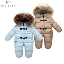 Jacket Park Snowsuit Designed Winter Down for Russian Baby 90%Duck-Down Coats Snow-Wear