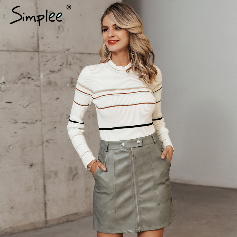 Simplee Stripe Knitted Women Pullover Sweater O-neck Autumn Winter Female Sports Sweater Long Sleeve Bestmatch Ladies  Jumper