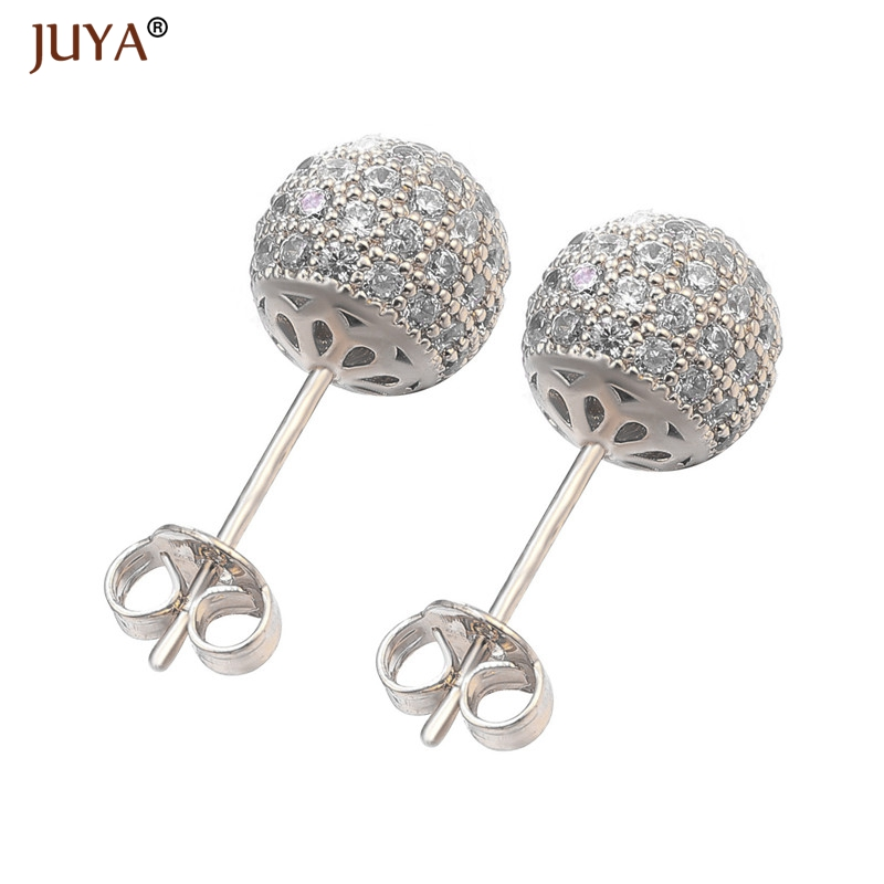 Juya Korean Fashion Cute Round Disco Ball Earrings Luxury Zircon Rhinestone Stud Earrings For Women Girls Christmas Gifts