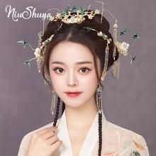 NiuShuya Chinese Hair Accessories Blue Green Lovely Bird Hairpin Hair Accessories Traditional Headpiece Xiuhe Hair Accessories