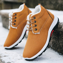 New High Top Men Winter Shoes Suede Snow Boots Men Outdoor Warm Non-slip Walking Casual Shoes Male 2020 Black Winter Boots(China)