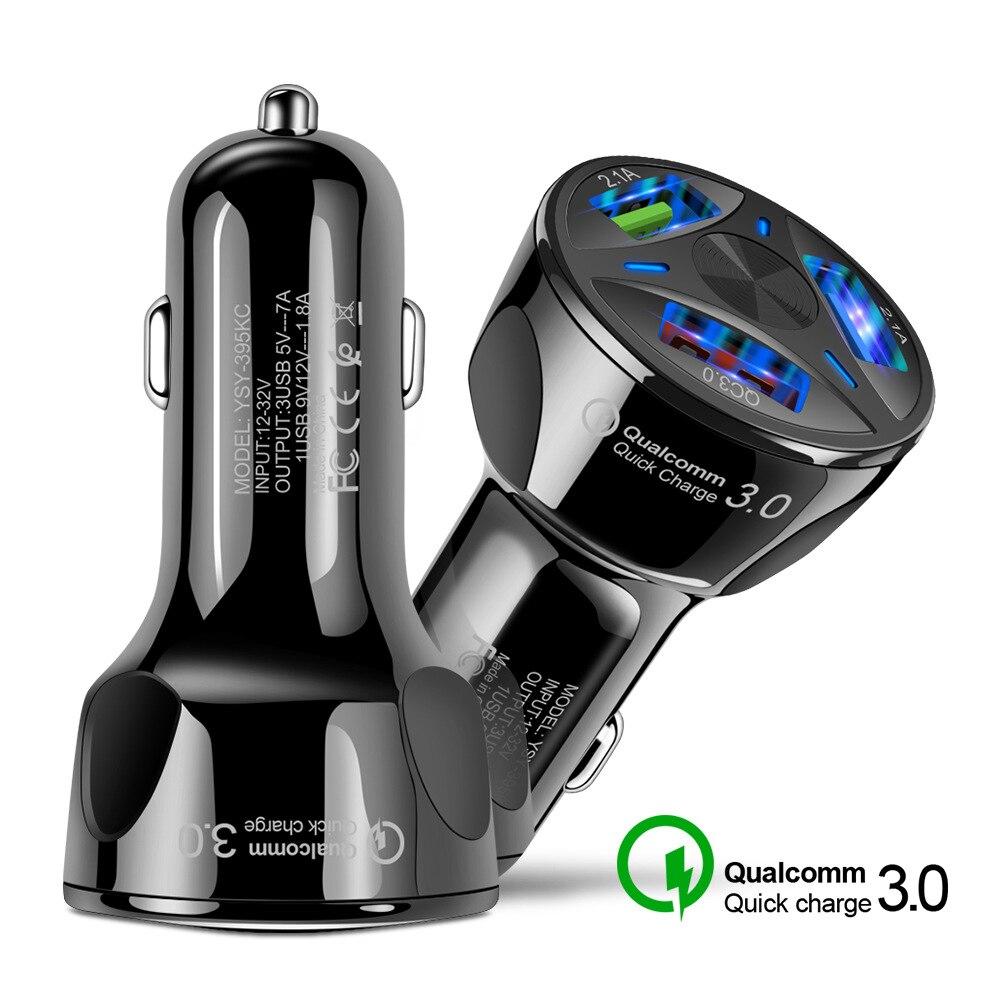 Cep telefonları ve Telekomünikasyon Ürünleri'ten Cep Telefonu Şarj Cihazları'de 3 USB Portu QC3.0 Hızlı Hızlı şarj araba şarjı 3 in 1 araba mobil telefon şarj aleti Için tablet telefon Araç Şarj Cihazı title=