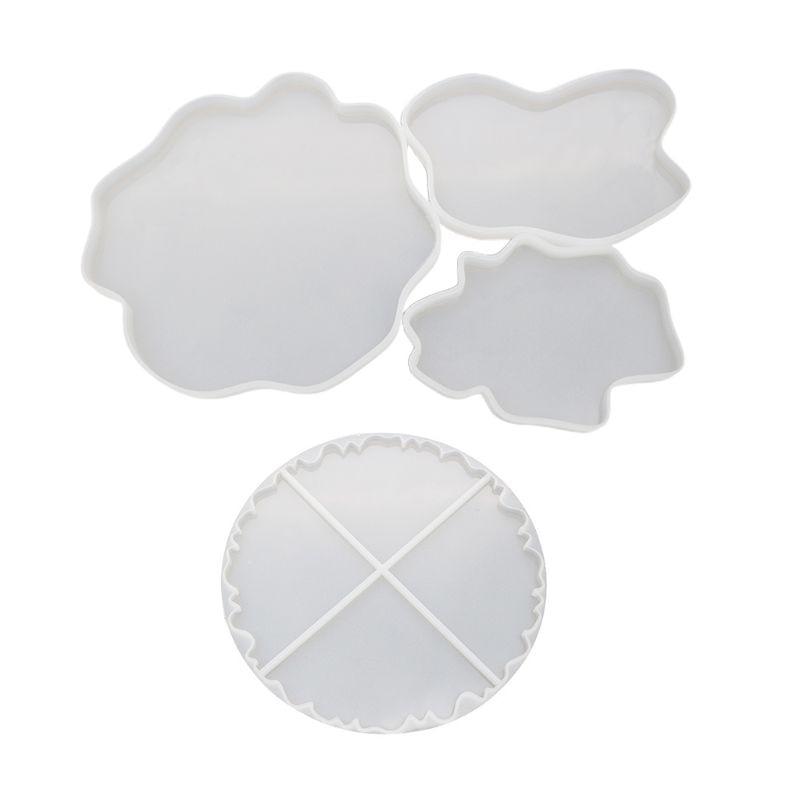 DIY Crystal Epoxy Mould Irregular Coaster Cup Pad Mold Handmade Resin Molds