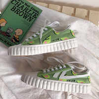 Women Sneakers 2019 Fashion Breathble Vulcanized Shoes leather Platform Lace up Casual White sneaker Hand Painted Avocado D1-64