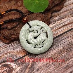 Doğal beyaz yeşil çin yeşim ejderha kolye kolye moda Charm takı çift taraflı içi boş oyma muska onun için hediyeler