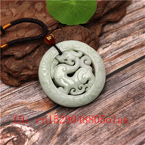 Natural White Green Chinese Jade Dragon Pendant Necklace Fashion Charm Jewelry Double-sided Hollow Carved Amulet Gifts For Her